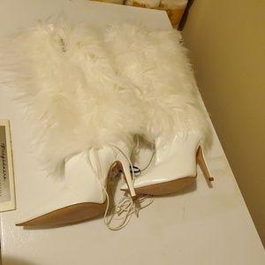 White fur high heel boots